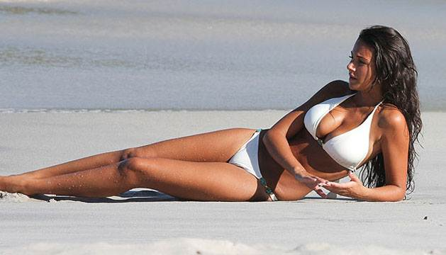 Michelle Keegan Wearing A Scorching Hot White Bikini Swimsuit